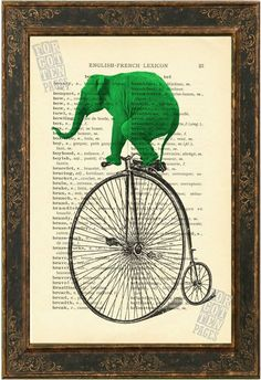 Green  Elephant on Old Bicycle altered art  Print on 1900's English French  Lexicon Recycled Book Page via Etsy