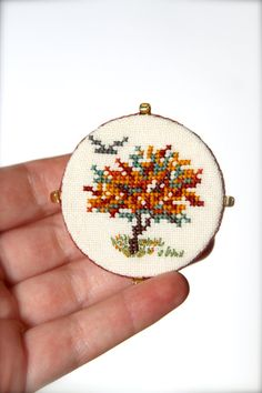 Hand embroidered Tree pin brooch  Textile brooch  Woodland