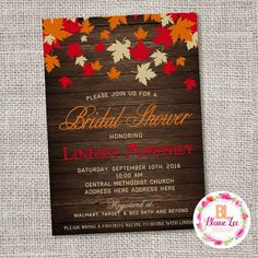 Fall Leaves Bridal Shower Invitation - Digital File  *This is a Custom…
