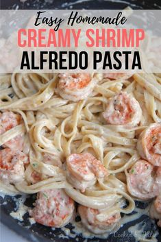 This shrimp fettuccine alfredo recipe is the only pasta recipe you will need. Super creamy and easy to make. Made with real cheese and cream. Chicken And Shrimp Alfredo, Shrimp Fettuccine Alfredo, Shrimp Pasta, Seafood Alfredo, Seafood Pasta, Chicken Pasta, Seafood Dishes, Easy Pasta Recipes, Shrimp Recipes