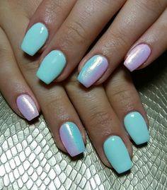 Almond Acrylic Nails, Almond Nails, Acrylic Nail Designs, Nail Art Designs, Nails Design, Mermaid Nails, Mermaid Glitter, Short Nails Art, Nagel Gel