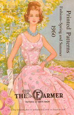 Vintage 1960s fashion sewing pattern book. Pink summer dress cover illustration.