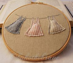 Embroidery Hoop Art  Three Dresses on a Washing by kukothebrave, £22.00
