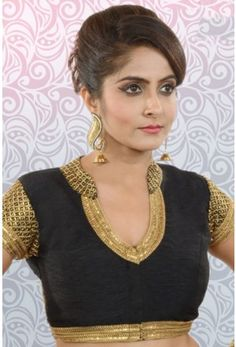 Black & antique gold raw silk & banarasi brocade discerning blouse with cap sleeves-BL835