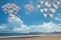 A rendering for a forthcoming project by artist Tomas Saraceno involving huge kites.
