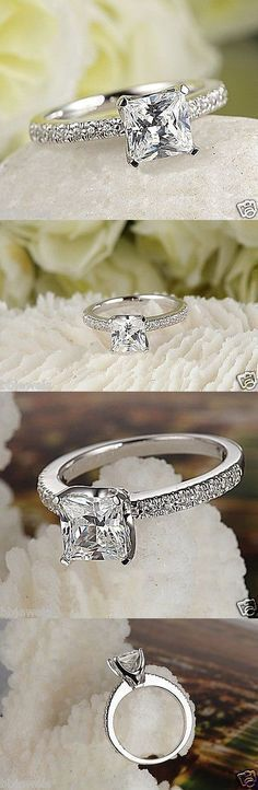 Wedding rings: Excel Wedding rings: Excellent Princess Cut 1.50Ct Diamond Engagement Ring 10K White Gold BUY IT NOW ONLY: $299.99 #princesscutring #weddingrings #princesscutdiamondring