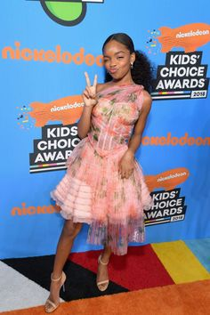 Marsai Martin Photos - Marsai Martin attends Nickelodeon's 2018 Kids' Choice Awards at The Forum on March 2018 in Inglewood, California. Kids Choice Award, Choice Awards, Black Girl Fashion, Tween Fashion, Classy Fashion, Women's Fashion, Kids Awards, African Dresses For Kids, Famous Girls