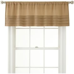 Royal Velvet Ally Rod-Pocket Tailored Pleated Valance (€16) ❤ liked on Polyvore featuring home, home decor, window treatments, curtains, rod pocket valance, pleated curtains, pleated window curtains, tailored window valance and rod pocket draperies