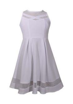 Bonnie Jean White Illusion Skater Dress Girls 7-16