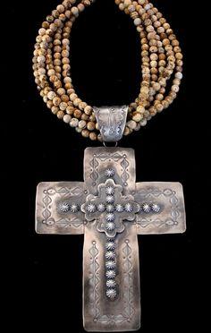 Rocki Gorman Large Stamped Repose Cross-- rocki Gorman- expensive ass hell, worth it! Cross Jewelry, Tribal Jewelry, Turquoise Jewelry, Stone Jewelry, Indian Jewelry, Jewelry Art, Jewelry Design, Jewlery, Bohemian Jewelry