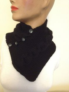 Black neckwarmers with buttonChunky Scarf by NesrinArt on Etsy