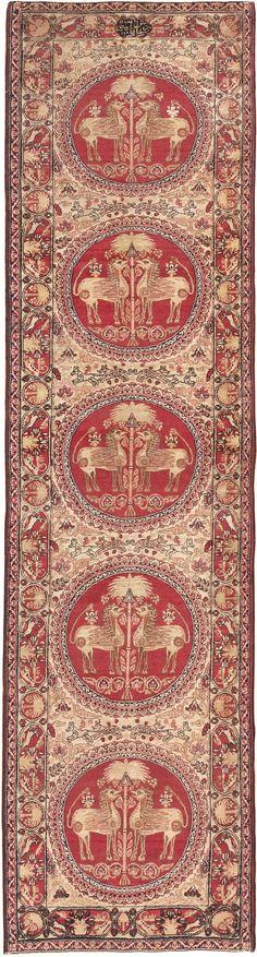 Antique Persian Kerman Rug, Country of Origin: Persia, Circa Date: Late 19th Century 3 ft x 11 ft (0.91 m x 3.35 m)