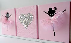 Pink and white nursery wall art.  Set of three handmade canvases with Dancing Ballerinas in pink tutus and pink rhinestone heart on a lace background. Each canvas is 8 X 10. The background and ballerinas are painted with acrylic paint.   Dancers are decorated with tulle and lace dresses, silk ribbons and rhinestones.  Cute gift idea for baby shower or any ballerina lover.  Custom orders are always welcome.