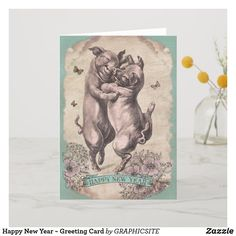 Happy New Year Greeting Card - antique gifts stylish cool diy custom Happy New Year Greetings, New Year Greeting Cards, New Year Wishes, Holiday Gifts, Holiday Cards, Happy New Year Design, Cool Diy, New Years Eve, Prints