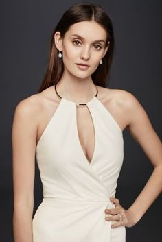 Draped Crepe Sheath Dress with Necklace Detail A sleek gold choker