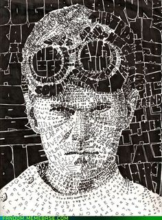 Dr Horrible! Love this pic! The words making up the picture are things he says and songs he sing! My favorite is the one comprising his shirt. <3