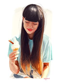 (7) Graphic Design Portrait Illustration. Ice Cream, little messy details make it happy.