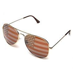 1aa31e2e5202 A pair of sunglasses with a high-polish metal frame and a subtle American  flag print on the lenses.
