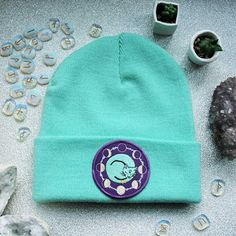 c31afabc9c8 Space Cat Beanie Hat Lavender Mint   Black Occult Flair