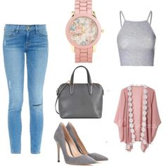 pink & gray by frances-louisse-m-galang on Polyvore featuring polyvore fashion style Glamorous Frame Denim Gianvito Rossi Valextra Aéropostale