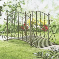 Lawn & Garden - Storybook charm in an intricate metal garden bridge. Come Home to Comfortable Living Through the Country Door! Lawn And Garden, Garden Art, Garden Design, Garden Gates, Garden Bridge, Wooden Garden, Garden Structures, Garden Furniture, Outdoor Furniture