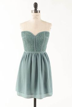 Picture Perfect Lace Bustier Sweetheart Skater Dress in Sage