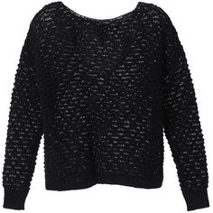 Victoria's Secret Boxy V-Back Sweater ($70) ❤ liked on Polyvore featuring tops, sweaters, black, black boatneck sweater, oversized black sweater, black boat neck sweater, black top and 3/4 sleeve sweaters