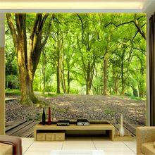 3d três dimensional paisagem grande mural papel de parede em estilo europeu , jardim sala de estar sofá TV pano de fundo papel de parede floresta madeiras(China (Mainland))