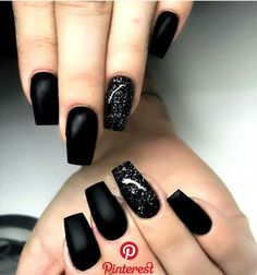 Nail nail art in 2019 black acrylic nails Acrylic Nail Liquid, Simple Acrylic Nails, Trendy Nails, Cute Nails, My Nails, Polish Nails, Homecoming Nails, Prom Nails, Black Nail Designs