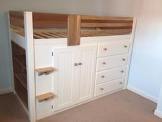 4 Drawer cabin bed in bone white with solid oak features. This cabin bed was particularly bespoke as a solid oak bookshelf is fitted into the end. Aspenn Furniture take pride in every piece of furniture to ensure it is of the highest quality. We can structurally guarantee our furniture for 20 years as we only use solid natural woods in our work, no mdf! Visit www.aspennfurniture.co.uk to view our previous work and check out our facebook page 'Aspenn Furniture' for regular updates of our…