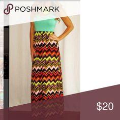 "Maxi dress Green top and chevron print bottom maxi dress. Skirt - 100% polyester.  Top - 96% polyester/4% spandex.  58"" from shoulder seam to bottom. Tyche Dresses Maxi"