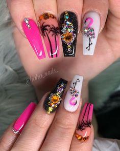 Perfect Coffin Acrylic Nails Designs In Summer - Nail Art Connect Summer Acrylic Nails, Best Acrylic Nails, Acrylic Nail Designs, Summer Nails, Bling Nails, Swag Nails, Gorgeous Nails, Pretty Nails, Flamingo Nails