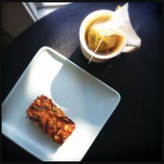 still life- savory kimchi financier and a cup of oolong tea