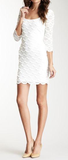 0b09be932 3 4 Length Sleeves Scalloped Fringe Dress Rehearsal Dinner Dresses