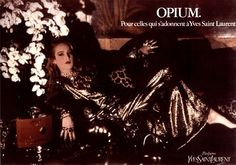 Jerry Hall was the first model Yves used for his Opium perfume ads.