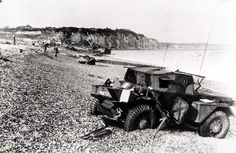 An abandoned scout vehicle after the failed Dieppe Raid Military history of Canada during World War II - Wikipedia, the free encyclopedia Dieppe Raid, Battle Of Crete, D Day Invasion, Italian Campaign, Canadian Army, Armored Fighting Vehicle, Battle Of Britain, German Army, Military History