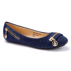 ONE Denim & Gold Zipper Flat New in box. Never worn. Retail $60. Add an edgy touch to your ensembles with this flat's shimmering zipper accents. A cushioned footbed offers all day support. ONE   Shoes Flats & Loafers