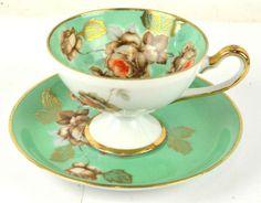 Minty green floral gold garden tea cup & saucer #aliceinwonderland
