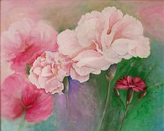 Dianthus. Acrylic on board by Sasha Taylor