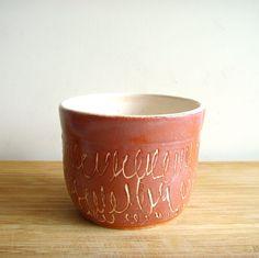 cup / earthenware terra cotta slip pottery / ceramics