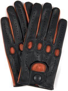 Riparo Leather Driving Gloves Black/Tan