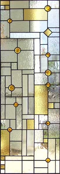 ZOOM to abstract stained and leaded glass door window inspired by Frank Lloyd Wright