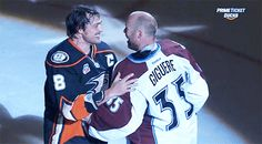 Selanne and Giguere - probably the best thing I've seen the Avs be involved in since Bourque got the Cup handoff from Sakic.