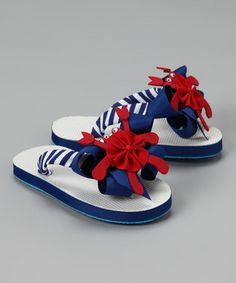 Picture Perfect Hair Bows - Picture Perfect Blue & Red Crab Flip-Flop