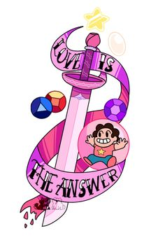 ❤ Love is the answer. ❤ A commission for the lovely that was used for a tattoo.) And you can buy it on redbubble as a sticker, tshirt, hoodie, etc. Steven Universe Tattoos, Steven Universe Quotes, Steven Universe Wallpaper, Perla Steven Universe, Steven Universe Ships, Universe Art, Wallpapers Wallpapers, Dog With A Blog, Was Ist Pinterest