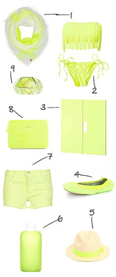 "sheer neon {love this edit. #6 is something we carry in the shop - Bkr glass water bottle in ""Smith""}"
