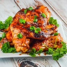 Chcken wings with an asian style barbecue sauce that are baked not fried.