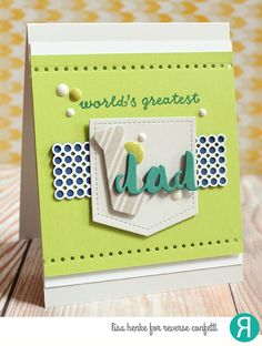 Card by Lisa Henke. Reverse Confetti stamp set: Tie-rific. Confetti Cuts: Tie-rific, Edge Essentials and Double Panel Circles. Father's Day card. Masculine card.