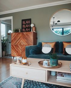 Love the colour scheme in this living room with the Swoon Editions sideboard, the teal velvet sofa and French Connection rug Teal Living Rooms, Indian Living Rooms, Mid Century Modern Living Room, Living Room Color Schemes, New Living Room, Living Room Designs, Colourful Living Room, Small Living, Casa Milano