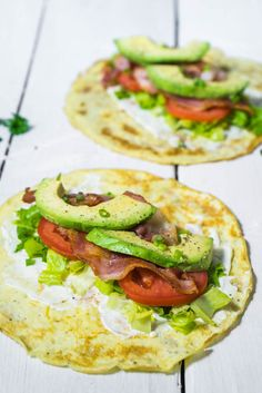 Crisp Bacon, Lettuce, Tomato and Creamy Avocado wrapped in an egg crêpe. This Low Carb Breakfast Burrito is low carb breakfast heaven! You're welcome.